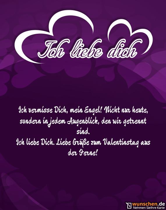Ich liebe Dich. Liebe Grüße zum Valentinstag aus der Ferne