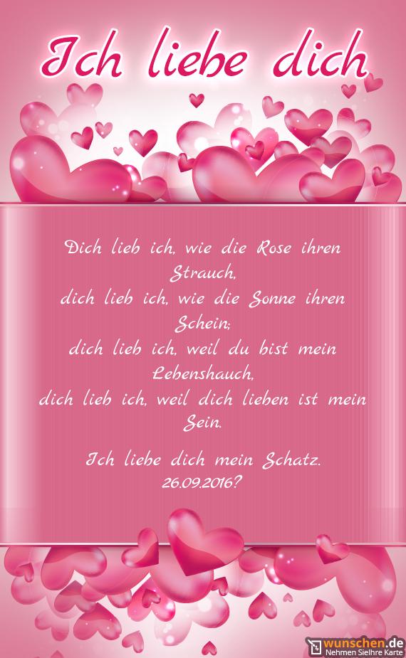 Ich liebe dich mein Schatz - Fertig valentinstag karte