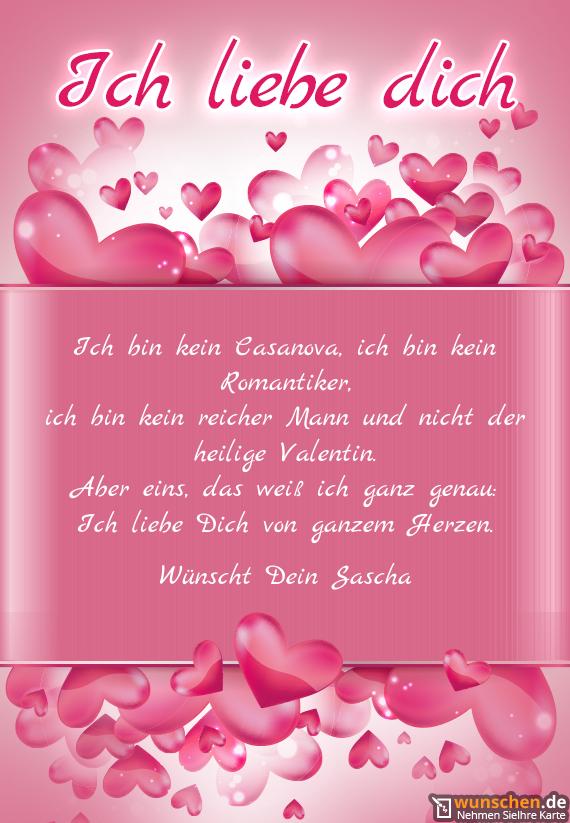 Ich liebe Dich von ganzem Herzen - Fertig valentinstag karte