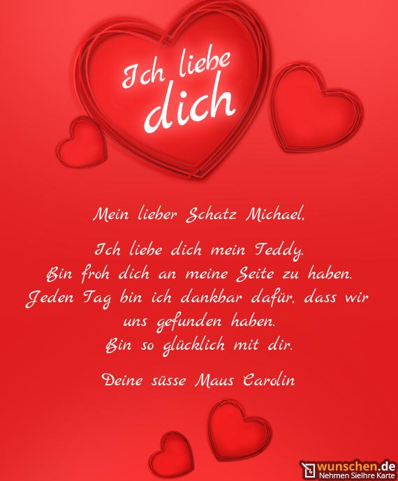 Mein lieber Schatz Michael - Fertig valentinstag karte